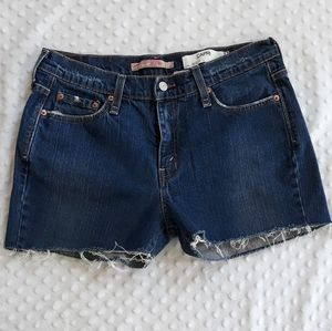 Levis cut off jean shorts DIY Sz 32 12 distressing